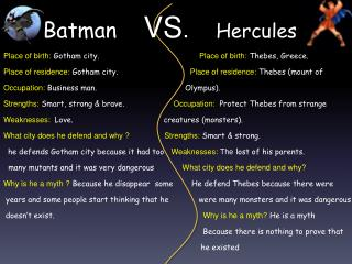 Batman VS .    Hercules