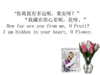 """ 你离我有多远呢,果实呀? "" "" 我藏在你心里呢,花呀。 "" How far are you from me, O Fruit?"