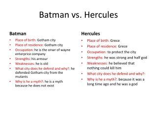 Batman vs.  Hercules