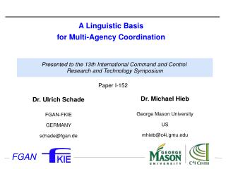 A Linguistic Basis  for Multi-Agency Coordination