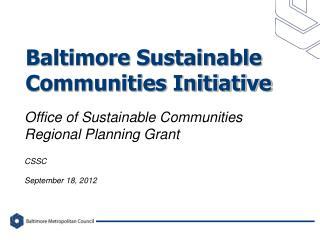 Baltimore Sustainable Communities Initiative