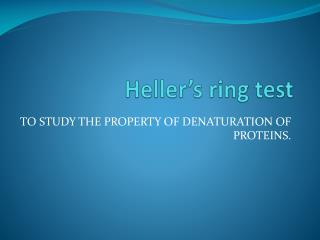 Heller's ring test
