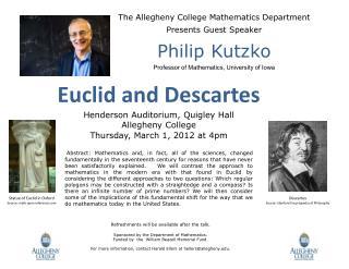 The Allegheny College Mathematics Department  Presents Guest Speaker Philip  Kutzko
