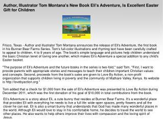 Author, Illustrator Tom Montana's New Book Eli's Adventure