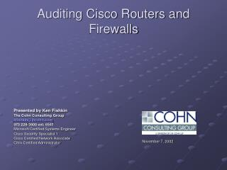 Auditing Cisco Routers and Firewalls