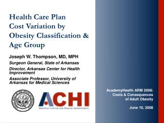 Health Care Plan  Cost Variation by Obesity Classification & Age Group