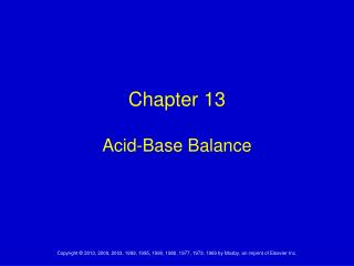 Chapter 13 Acid-Base Balance