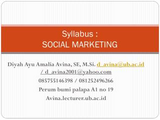 Syllabus :  SOCIAL MARKETING
