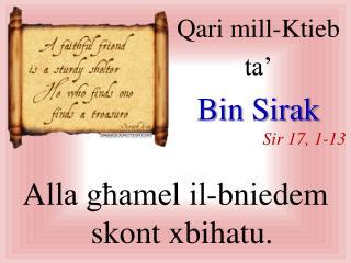 Qari  mill-Ktieb  ta' Bin  Sirak Sir  17, 1-13