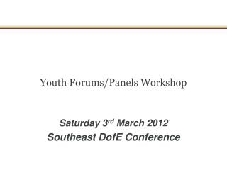 Youth Forums/Panels Workshop