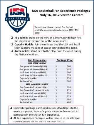USA Basketball Fan Experience Packages • July 16, 2012 • Verizon Center •