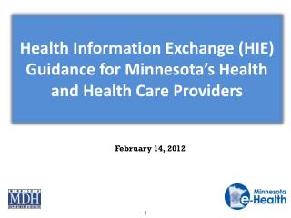 Health Information Exchange (HIE) Guidance for Minnesota�s Health and Health Care Providers