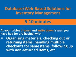 Database/Web-Based Solutions for Inventory Management