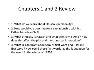 Chapters 1 and 2 Review