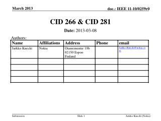 CID 266 & CID 281