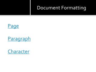 Page Paragraph Character
