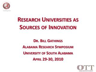 Research Universities as         Sources of Innovation