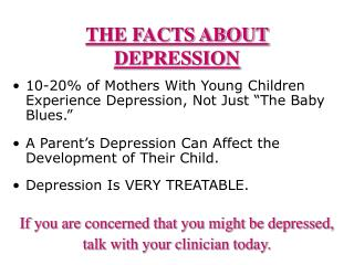 THE FACTS ABOUT DEPRESSION