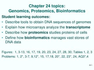 Chapter 24 topics: Genomics, Proteomics, Bioinformatics