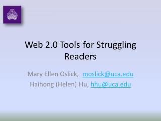Web 2.0 Tools for Struggling Readers