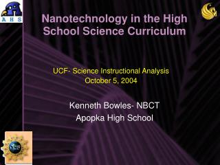 Nanotechnology in the High School Science Curriculum