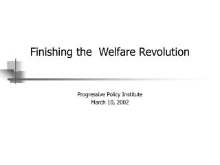 Finishing the  Welfare Revolution