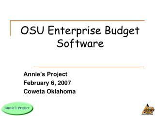 OSU Enterprise Budget Software