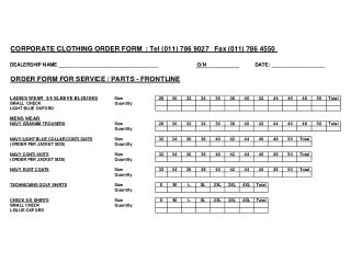 Clothing Order Form 2010