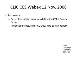 CLIC CES  W ebex  12 Nov. 2008