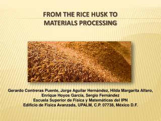 From the  Rice  Husk to Materials Processing
