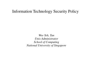 Information Technology Security Policy