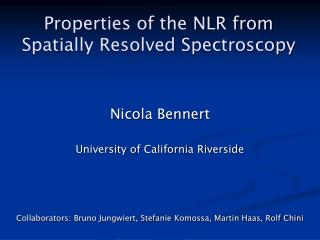 Properties of the NLR from Spatially Resolved Spectroscopy