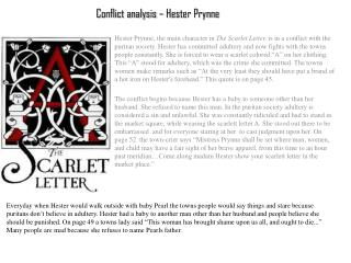 Conflict analysis – Hester Prynne