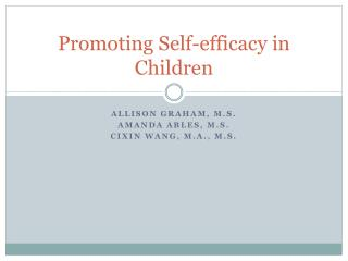 Promoting Self-efficacy in Children
