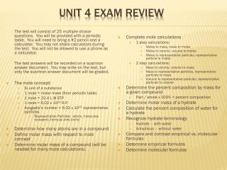 Unit 4 Exam Review