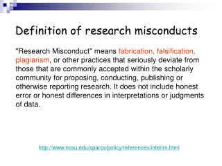 Definition of research misconducts