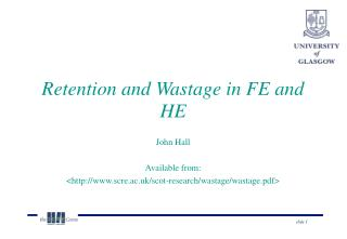 Retention and Wastage in FE and HE