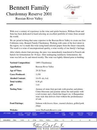 Bennett Family Chardonnay Reserve 2001 Russian River Valley