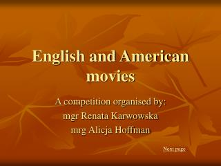 English and American movies