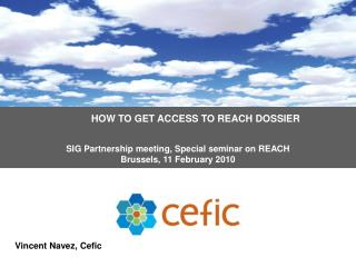 HOW TO GET ACCESS TO REACH DOSSIER   SIG Partnership meeting, Special seminar on REACH  Brussels, 11 February 2010