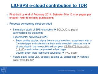 LIU-SPS  e-cloud contribution to  TDR