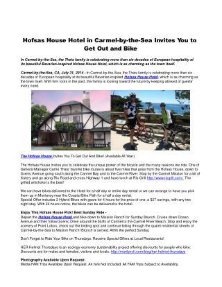 Hofsas House Hotel in Carmel-by-the-Sea Invites You to Get O