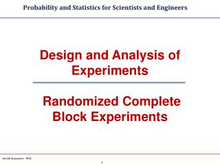 Design and Analysis of Experiments  Randomized Complete Block Experiments