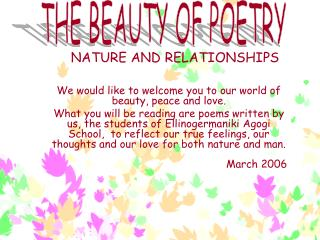 NATURE AND RELATIONSHIPS