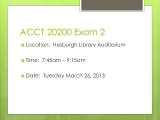 ACCT 20200 Exam 2