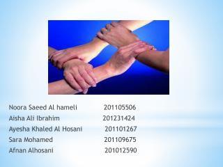 Noora Saeed  Al  hameli              201105506 Aisha Ali Ibrahim                     201231424
