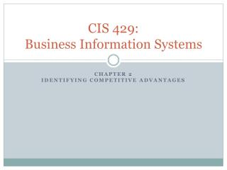 CIS 429:  Business Information Systems