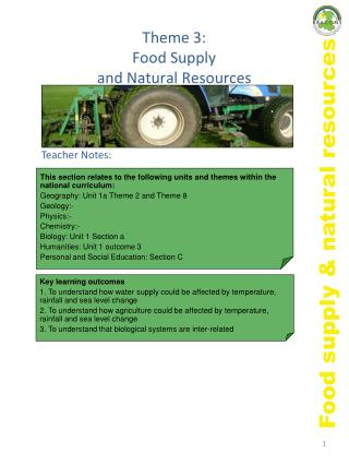 Theme 3:  Food Supply  and Natural Resources