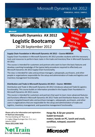 Microsoft Dynamics  AX 2012 Logistic  Bootcamp 24-28 September 2012