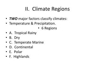 II.  Climate Regions